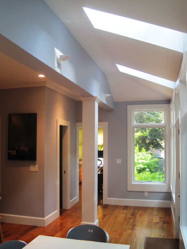 Skylights, hall and bathroom area