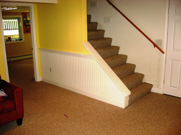 Finished basement space with wainscoting and carpet